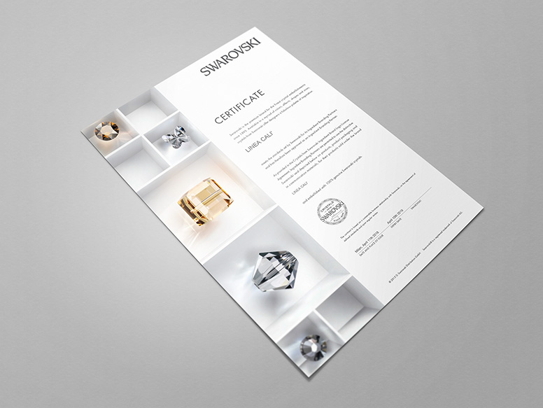 Certificate Swarovski® crystals