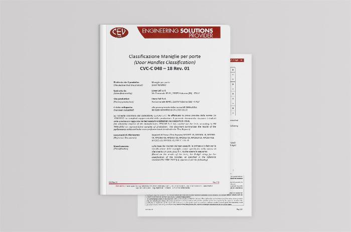 Le maniglie di Linea Calì hanno conseguito la certificazione EN 1906:2012 superando brillantemente i test di durata e anti corrosione.